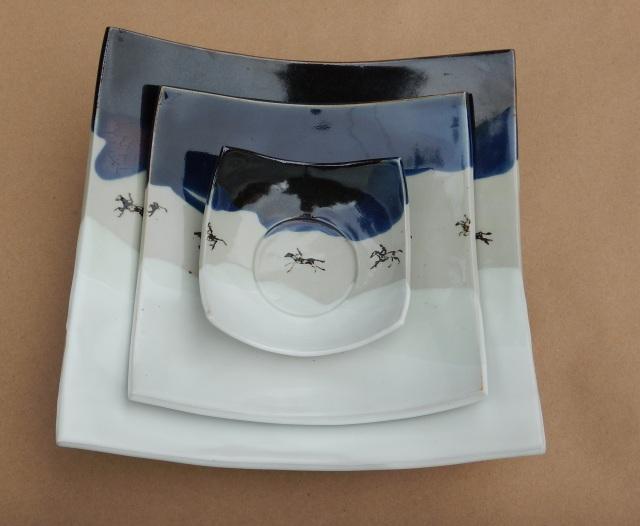 embeded plates, square plates, modern design, ceramic art